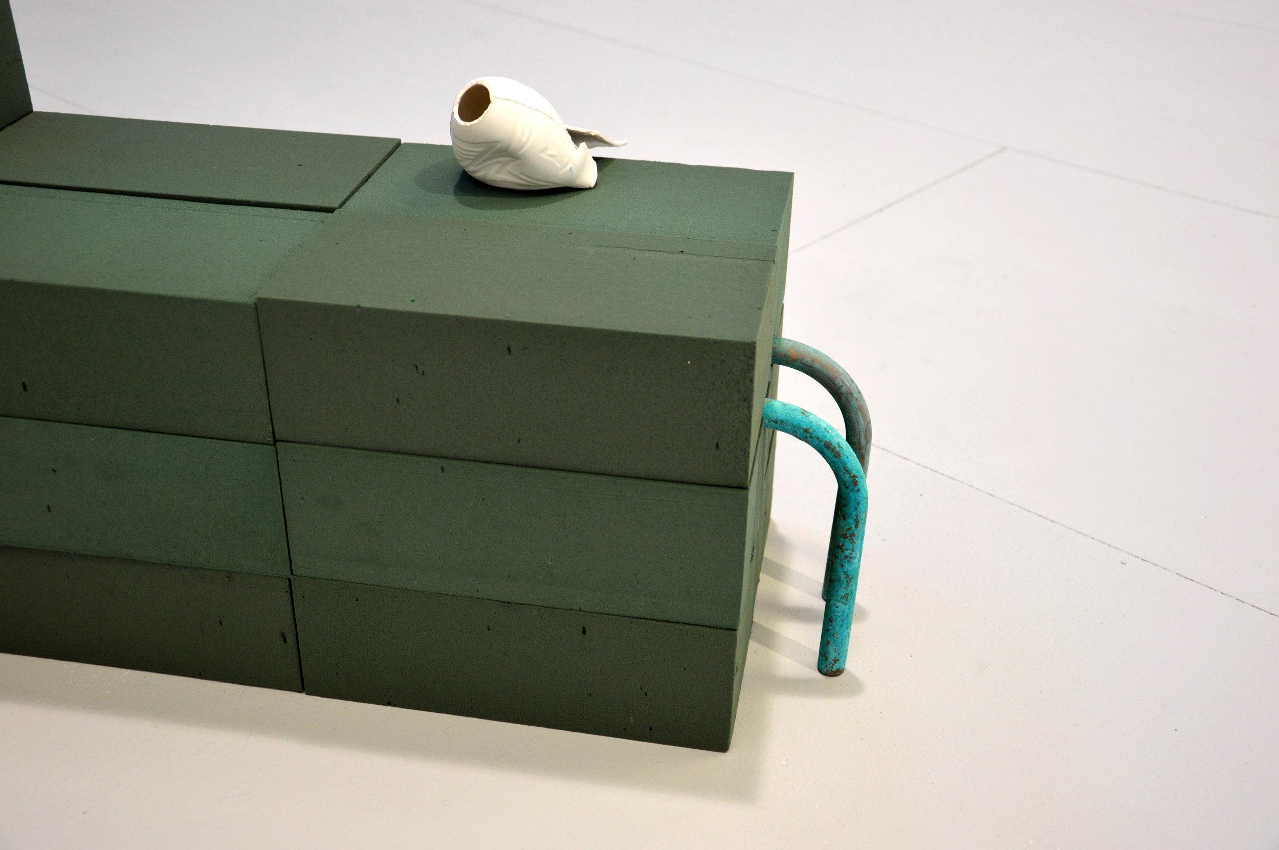 Power Plant   2018  Ceramic, cigarette butts, copper & floral foam  70x65x22cm