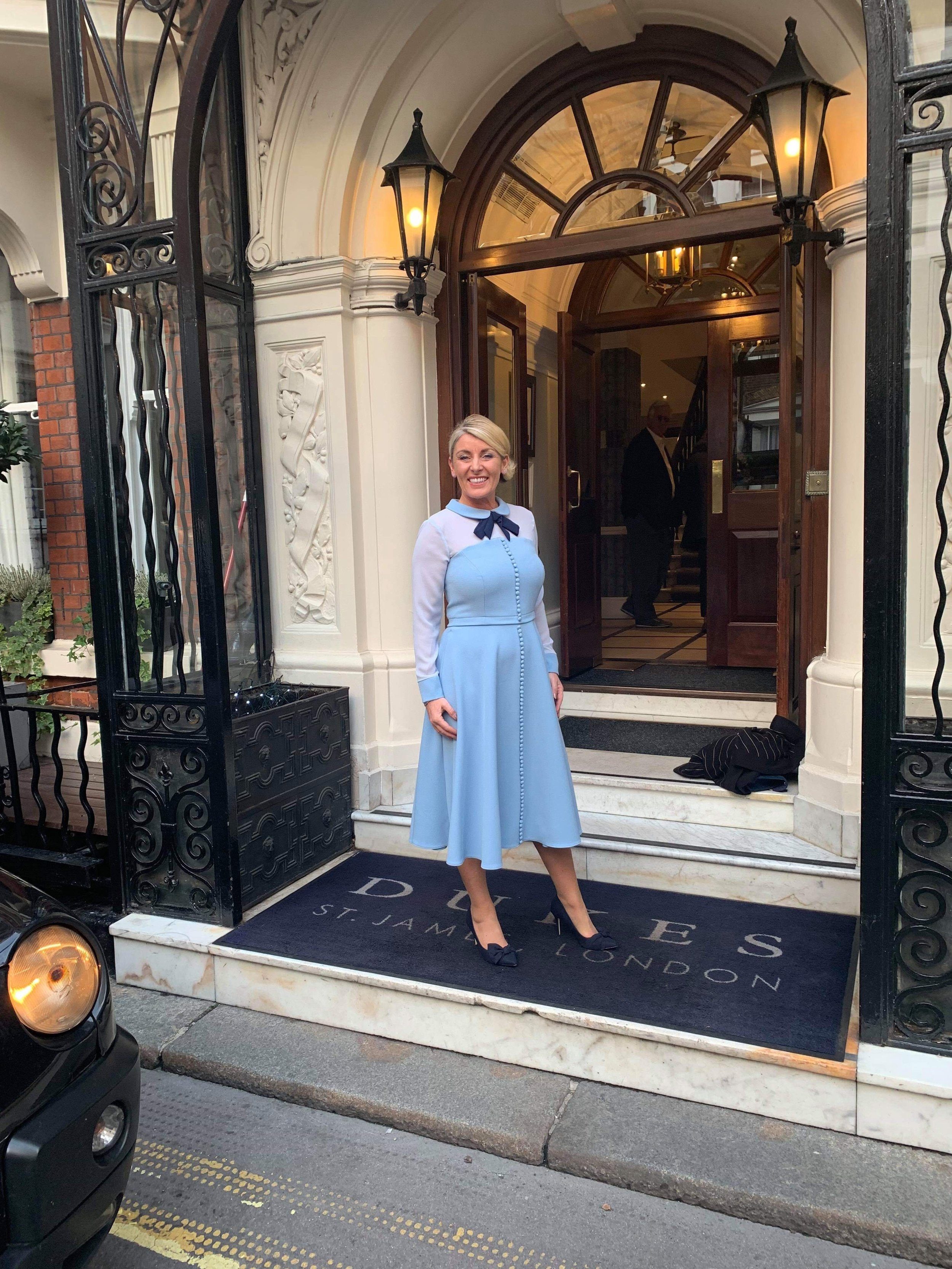 Simone Roche MBE, CEO of Northern Power Women on her way to afternoon tea at The Ritz to celebrate her investiture.
