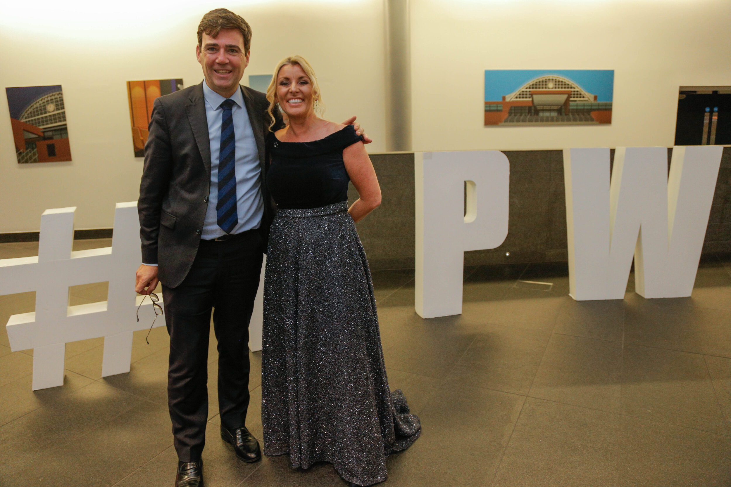 Simone Roche MBE, Founder of Northern Power Women with Andy Burnham, Mayor of Greater Manchester at the Northern Power Women Awards