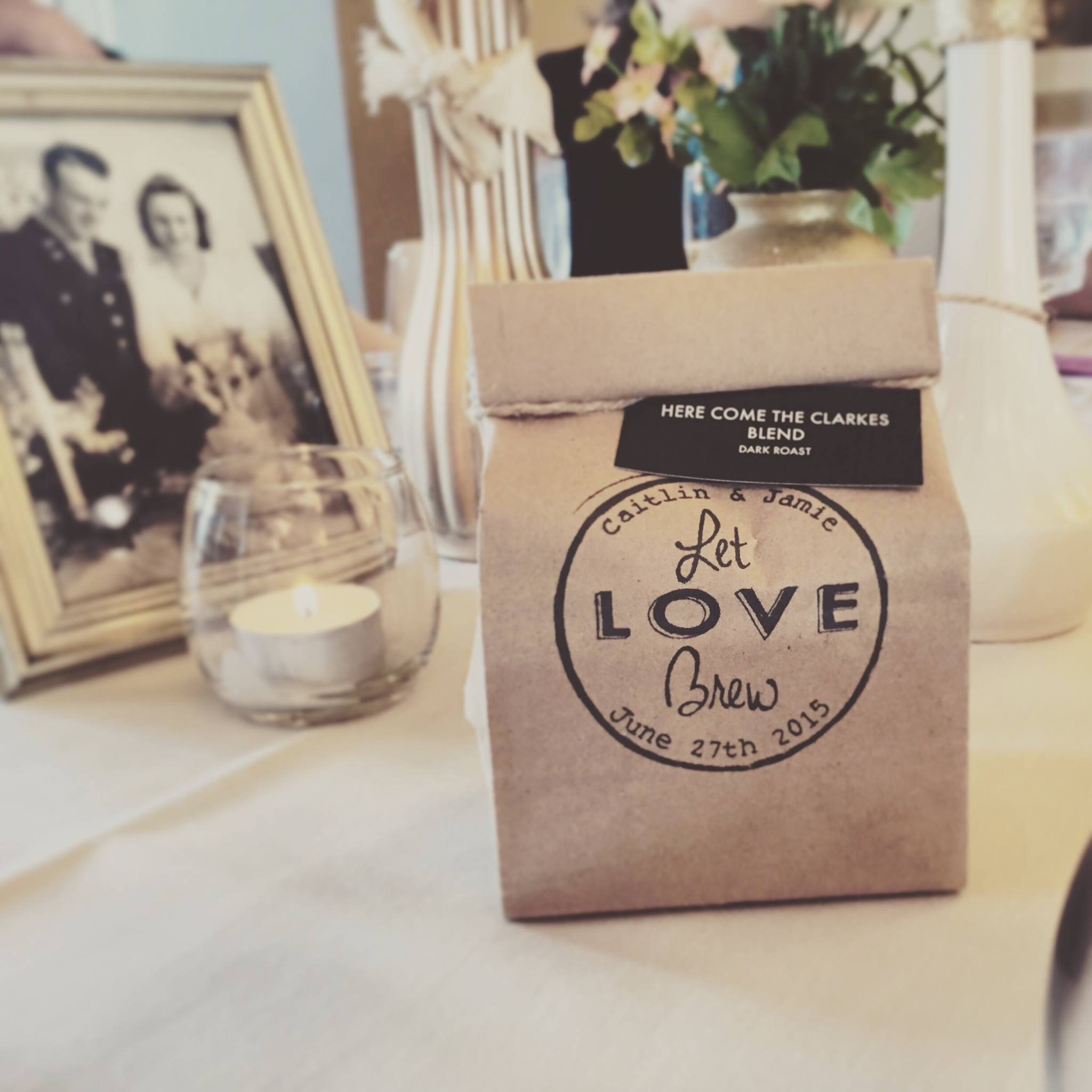 Custom Wedding Favors - Send your guests home with warm wishes and freshly roasted coffee. The customized stamp provides a unique touch to any wedding!We roast in house and source as directly with each farm as possible. Each bag is filled with 4 oz of freshly roasted coffee. The bags are all hand stamped, folded and tied with twine.