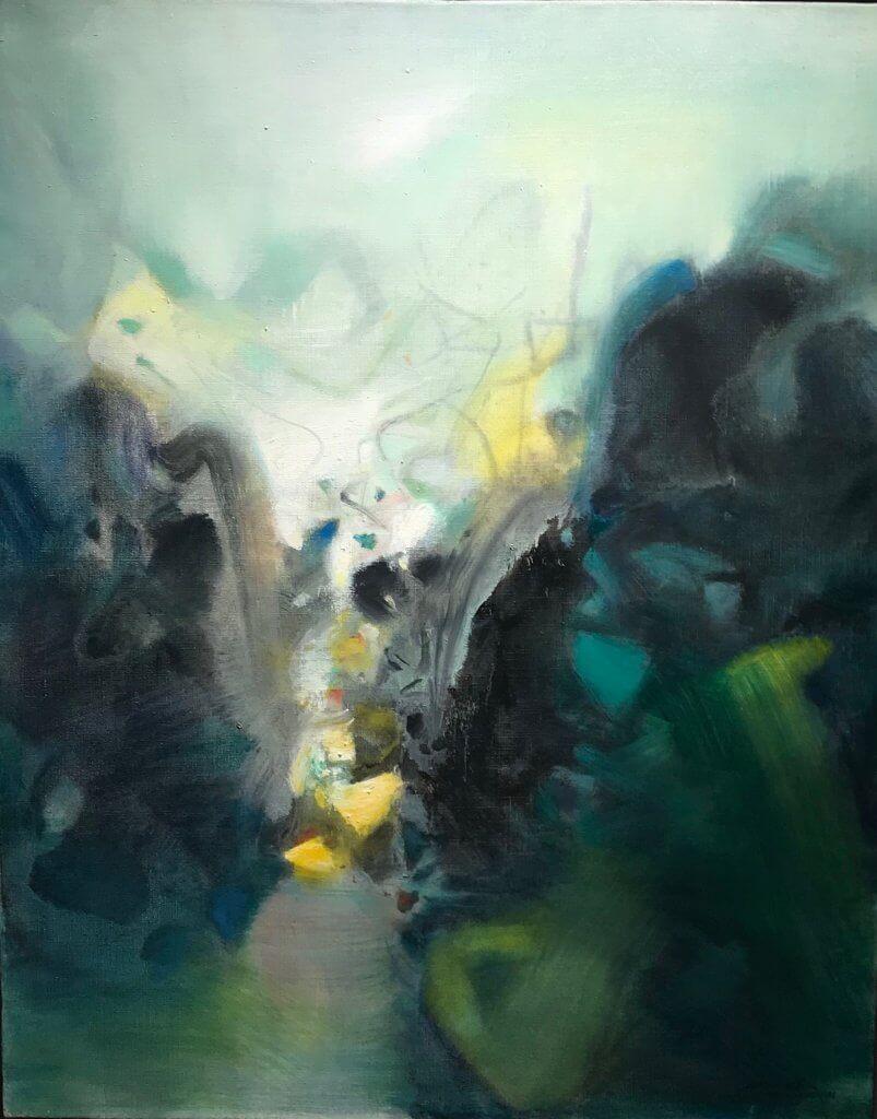 """""""La Gorge"""" (1986)  Huile sur toile - 81x65cm  VENDU"""