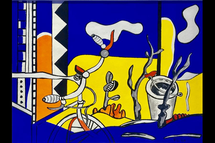 """""""La bicyclette dans le jardin"""" (1950)  Gouache sur papier - 24.5 x 33 cm  VENDU"""