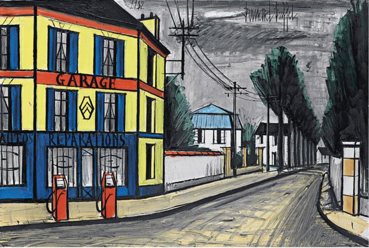 """""""Le Garage"""" (1982)   Huile sur toile - 89 x 129.9 cm  VENDU"""