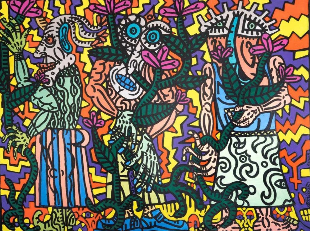 """""""Le Jardin du Roi"""" (2003)  Acrylique sur toile - 215 x 275cm   VENDU"""