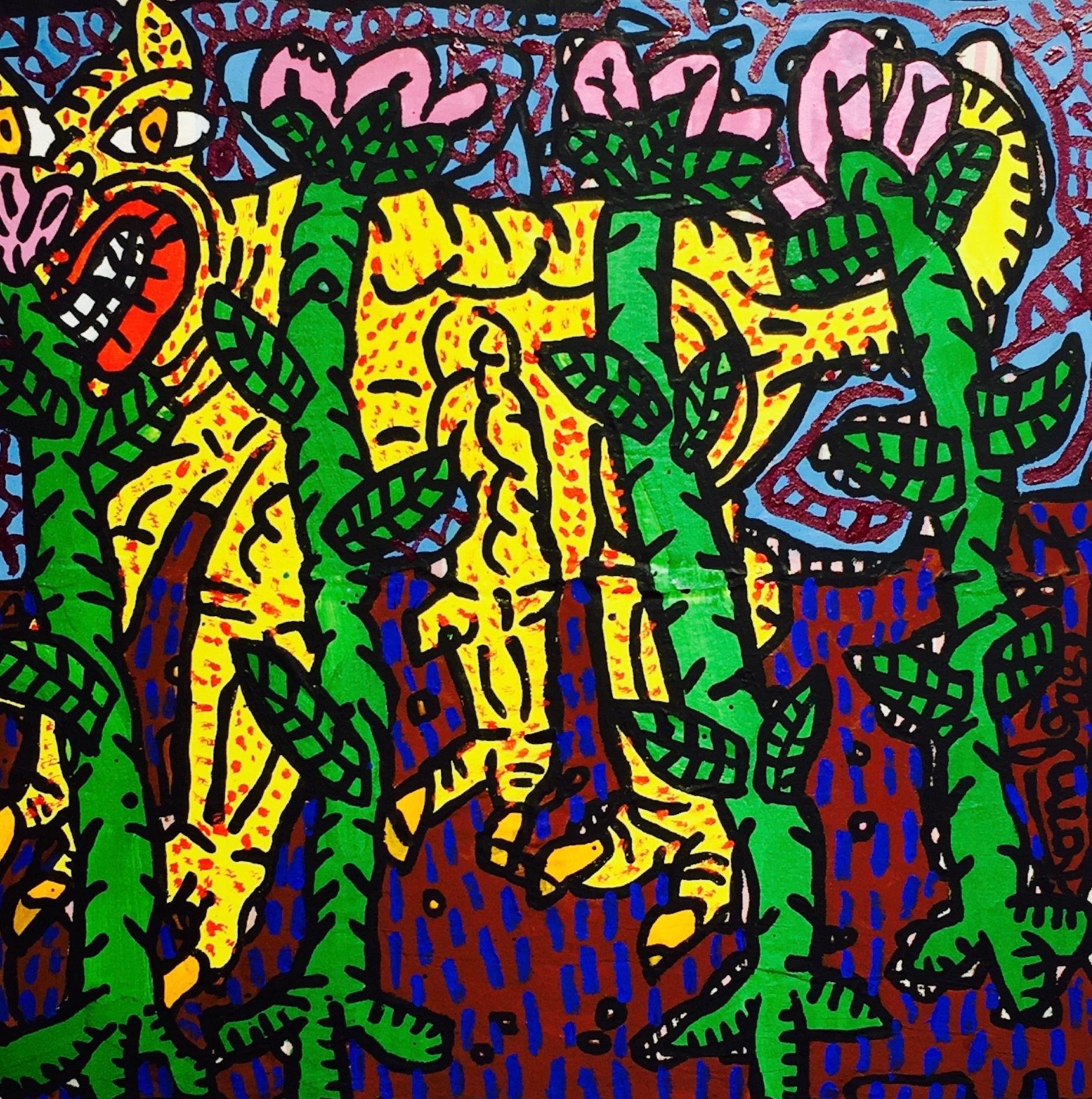 """""""Le chat"""" (1987)   Huile sur toile - 58x60cm  VENDU"""
