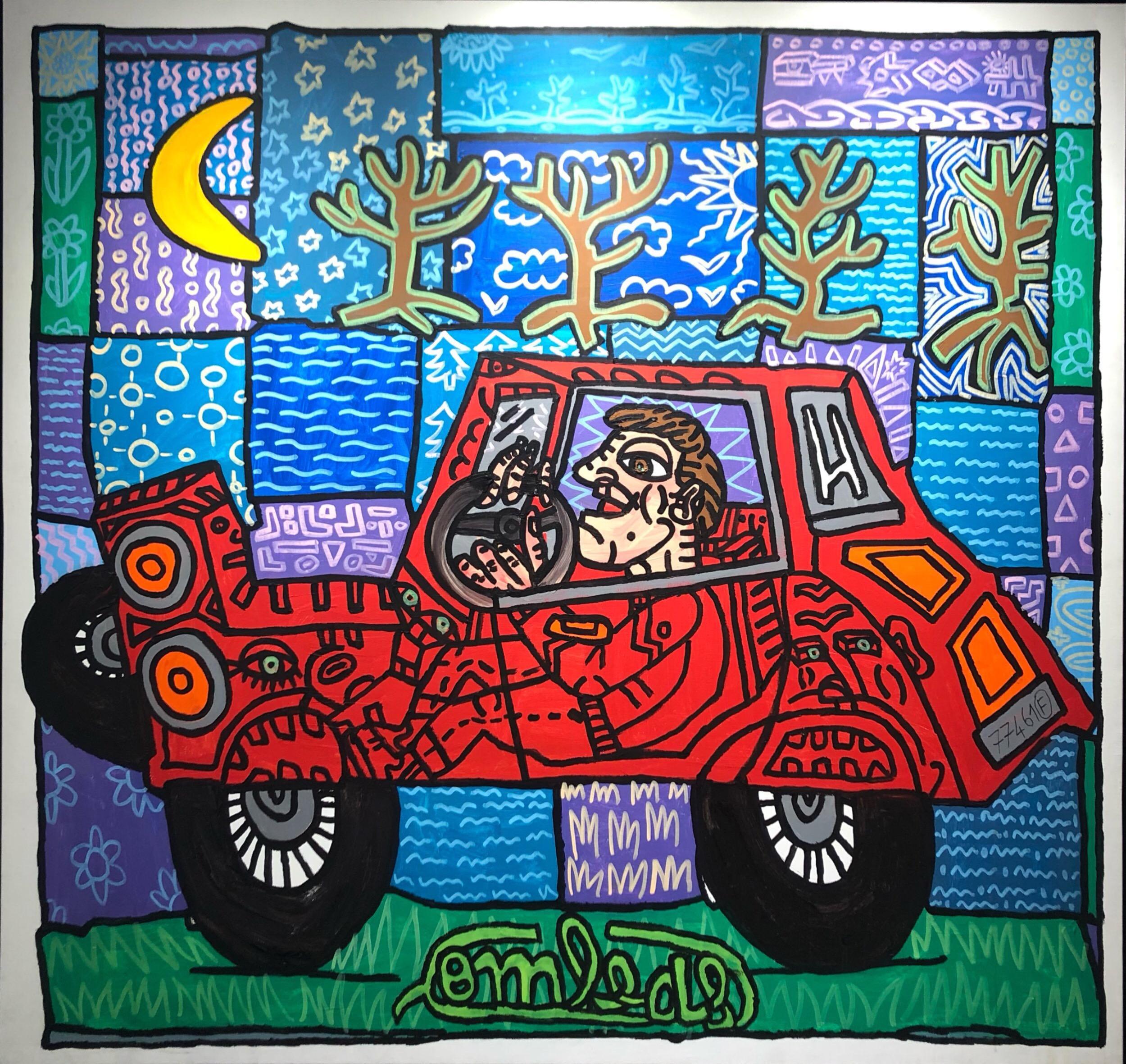 """"""" La Voiture de Maria"""" (2003)   191 x 183 cm - Huile sur toile"""