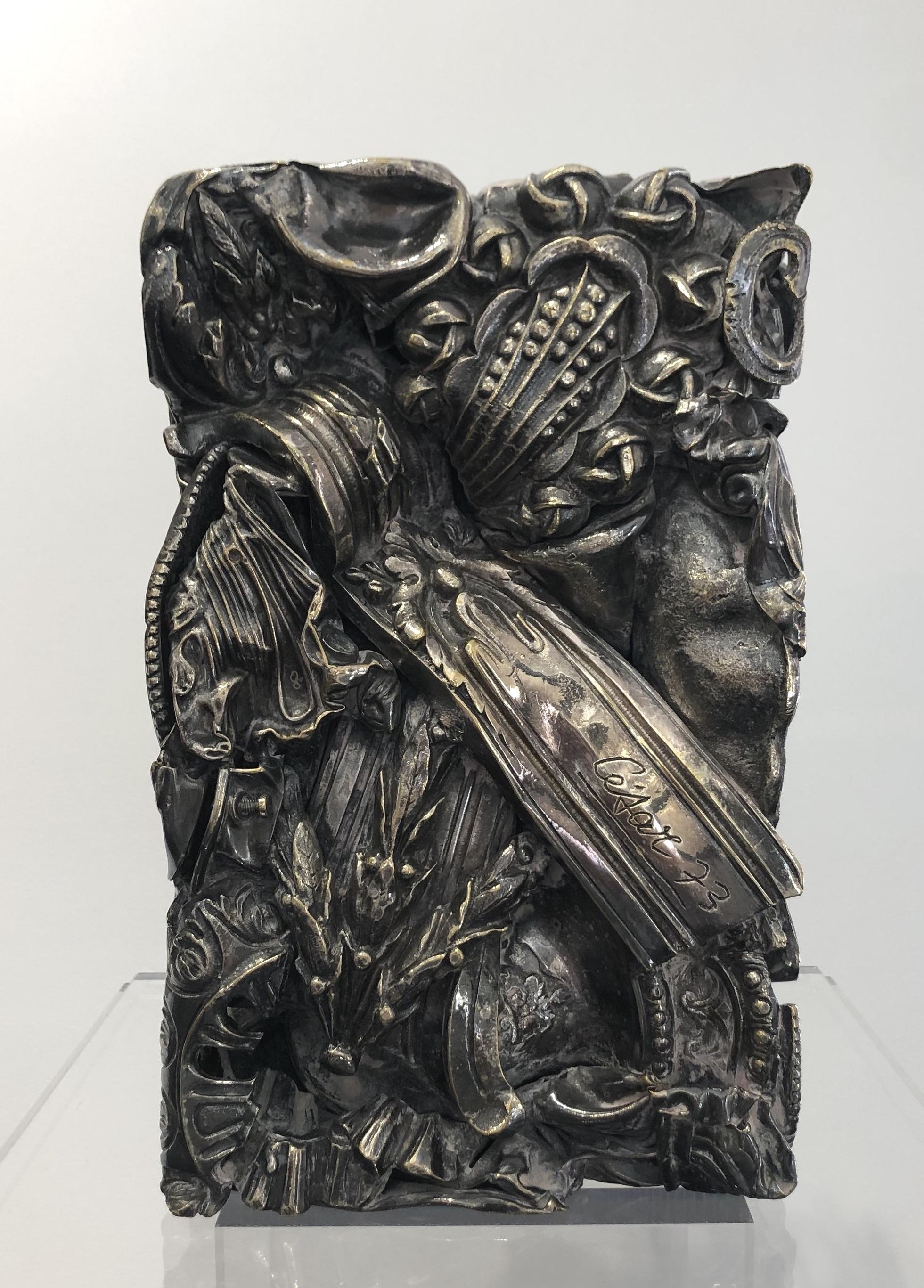 """"""" Compression N°25"""" (1973)   Bronze argenté - 24 x 15 cm"""