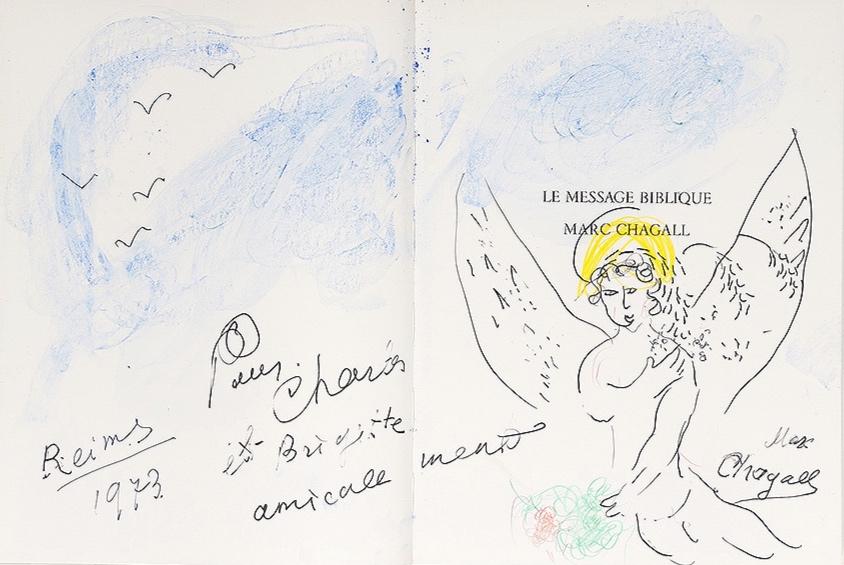 """""""Ange nimbé sous le ciel bleu"""" (1973)   Gouache, crayons de couleur et stylo encre - 32 × 48.7 cm"""