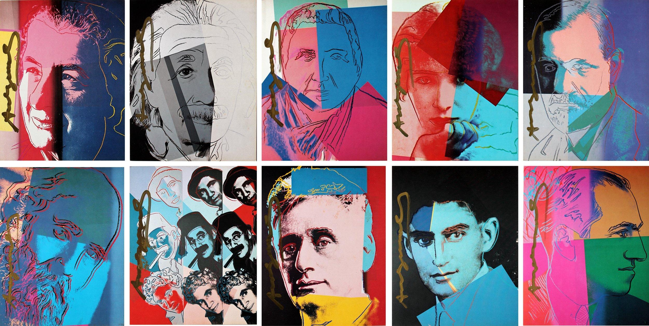 """Ten portraits of jews of the twentieth century"" (1980)   Lithographies - 82 × 163 cm"