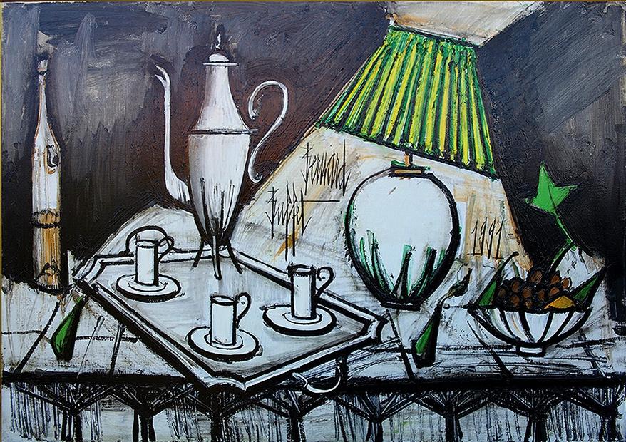 """""""Nature morte au service à café"""" (1991)   Huile sur toile - 89 x 130 cm"""