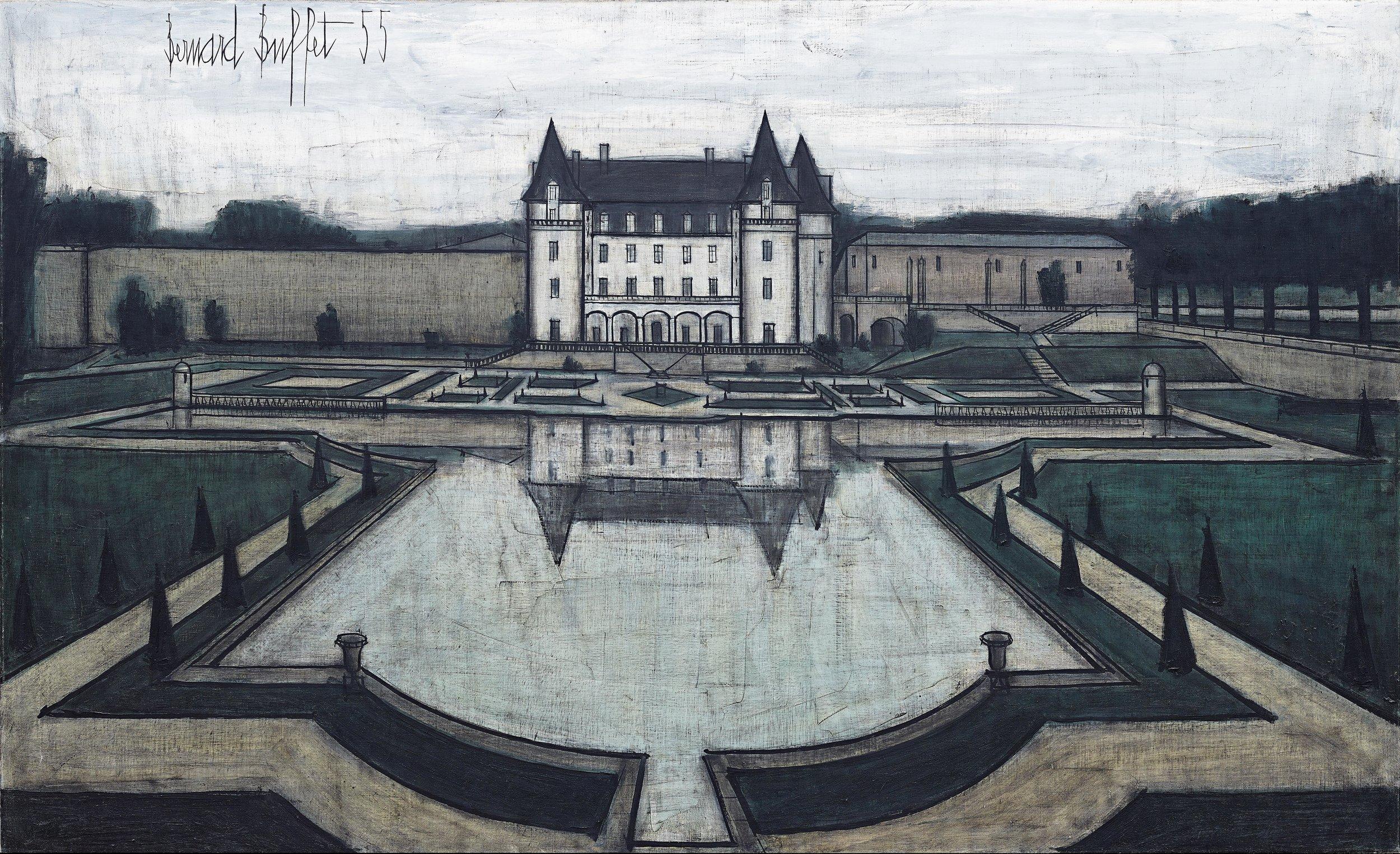"""""""Le Château"""" (1955)   Huile sur toile - 89 x 146 cm"""