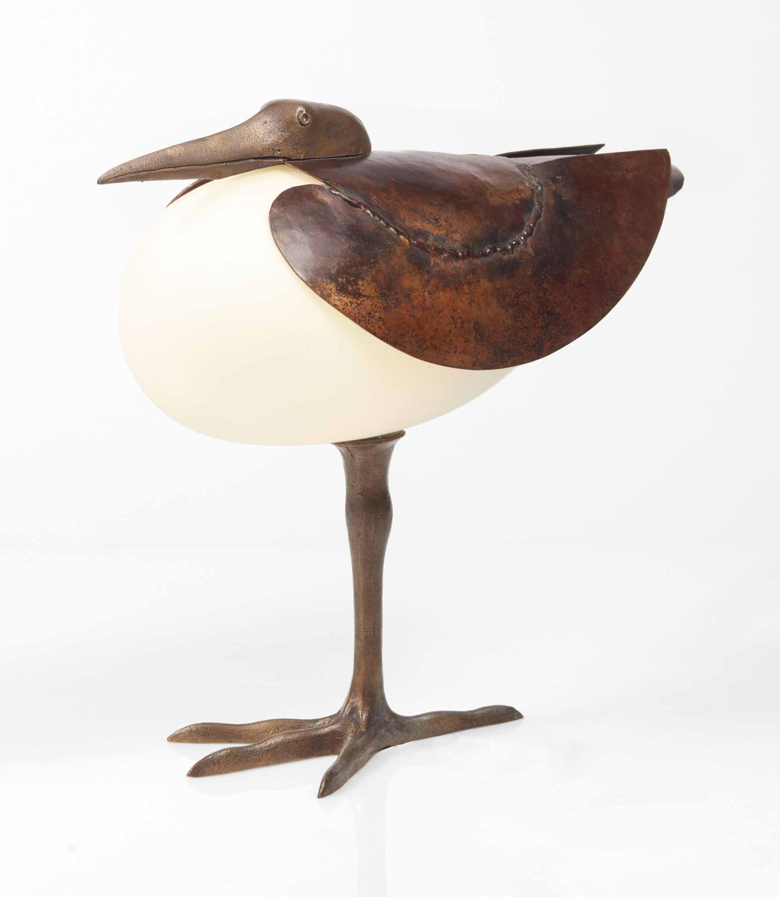 """Lampe échassier"" (1990)   Bronze - 29.5 × 32.5 × 13 cm"