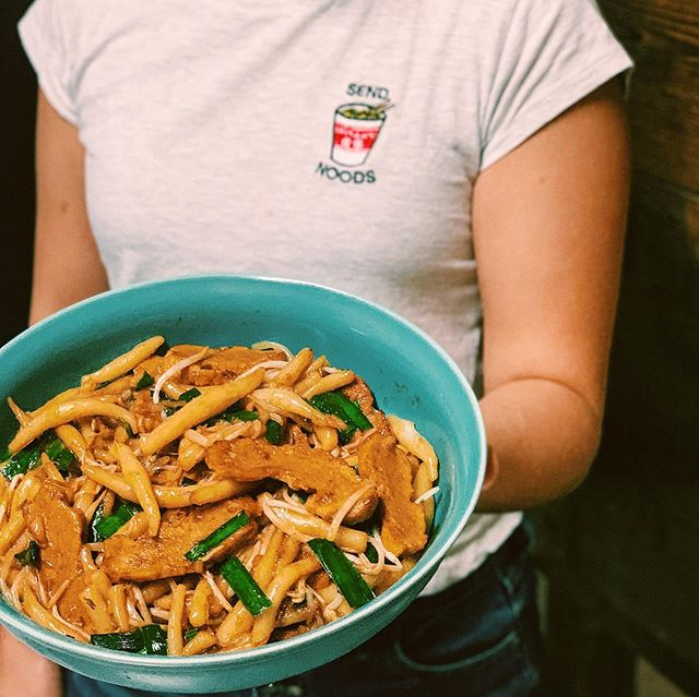 special of the week | lort cha ____________________________________________  housemade short (fat) rice noodles stir fried w chicken or seitan (vegan - pictured), chives and bean sprouts in a soy garlic sauce.  these lil noodles are hand rolled just 4 u