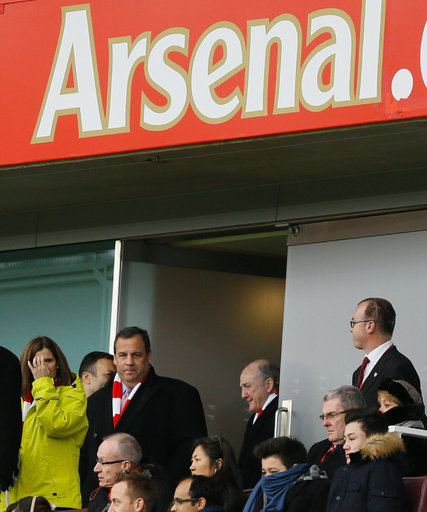Christie at an Arsenal match on Feb. 1, 2015. (Credit: Kirsty Wigglesworth/AP)
