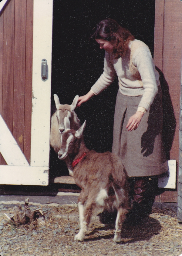 Mary Jane, with goats Nanny and Tinkerbelle.