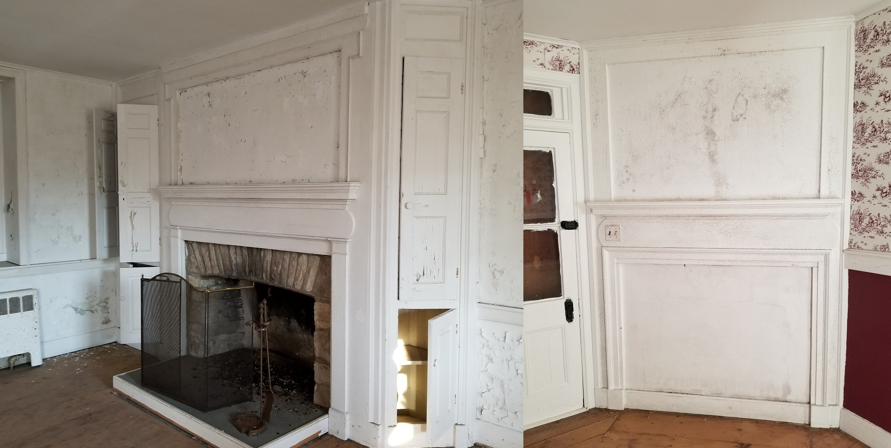 1811 Federal style fireplace; offset fireplace from 1930's or later.