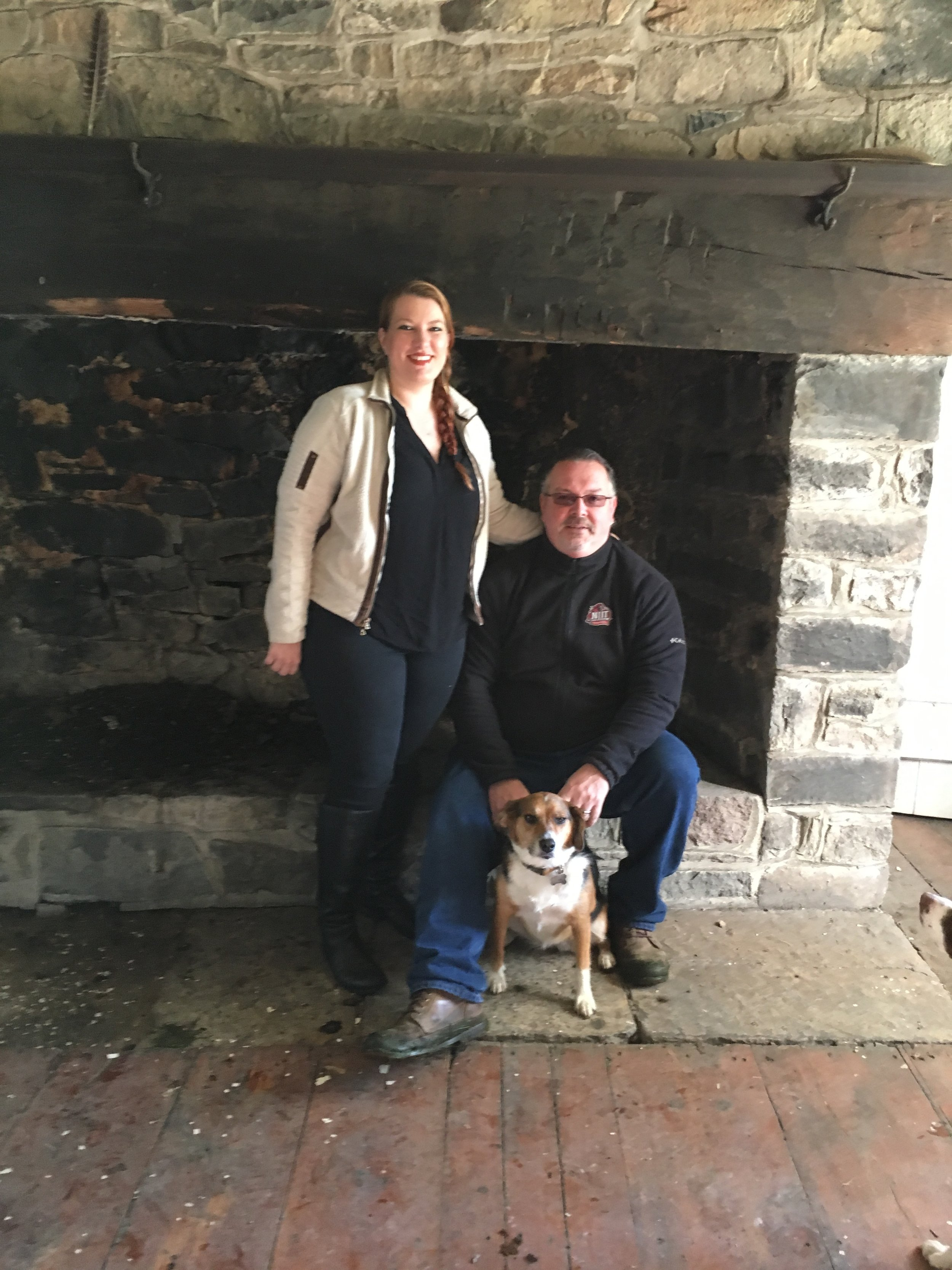 Lia, Jason & Nutmeg in front of the 1744 'walk-in' fireplace…