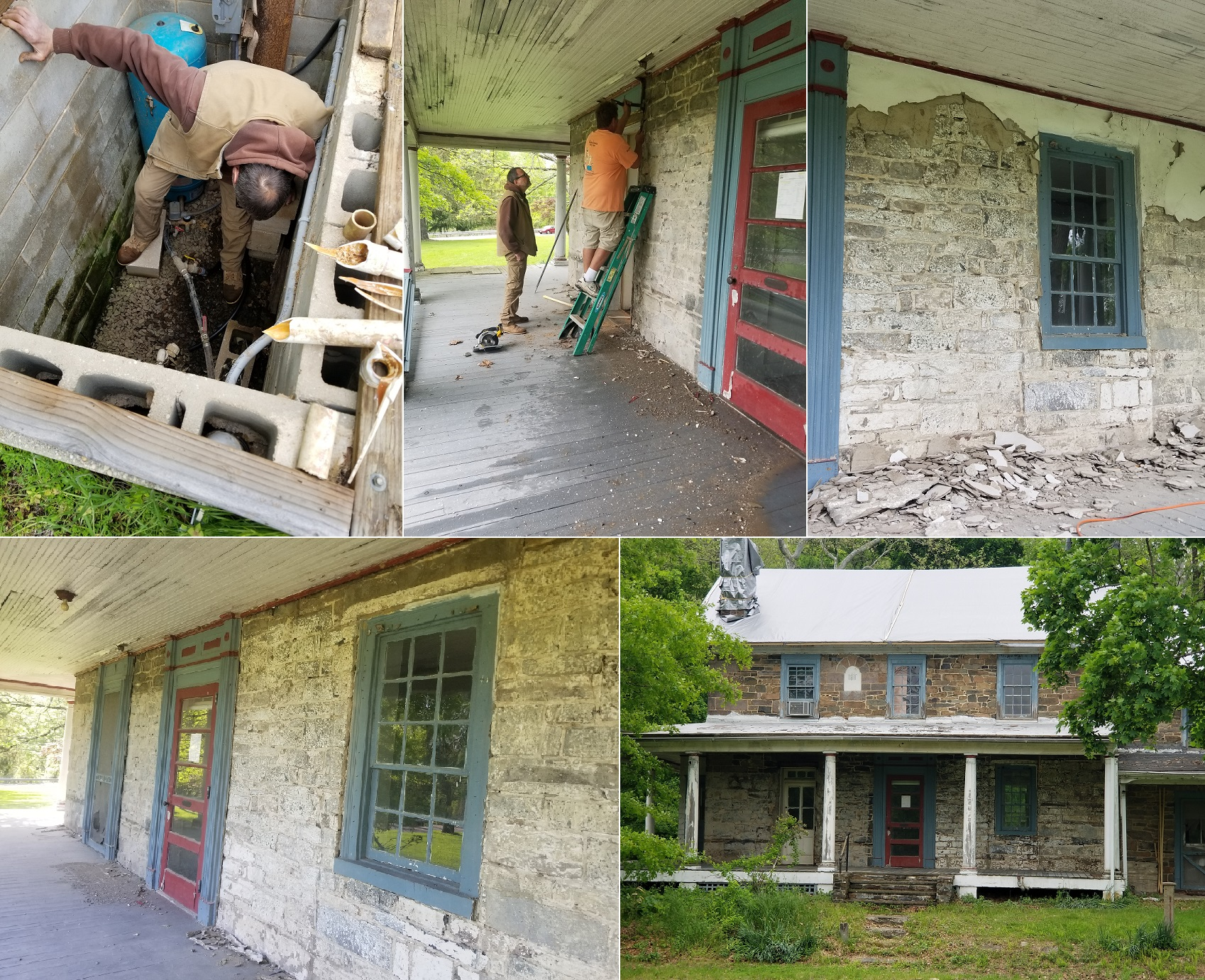 Clockwise: Bruce down in the well pit; Pulling off some of the 1920's trim; Taking the portland cement (added circa 1927) off the stone; The front after demo part 1; The newly exposed facade.