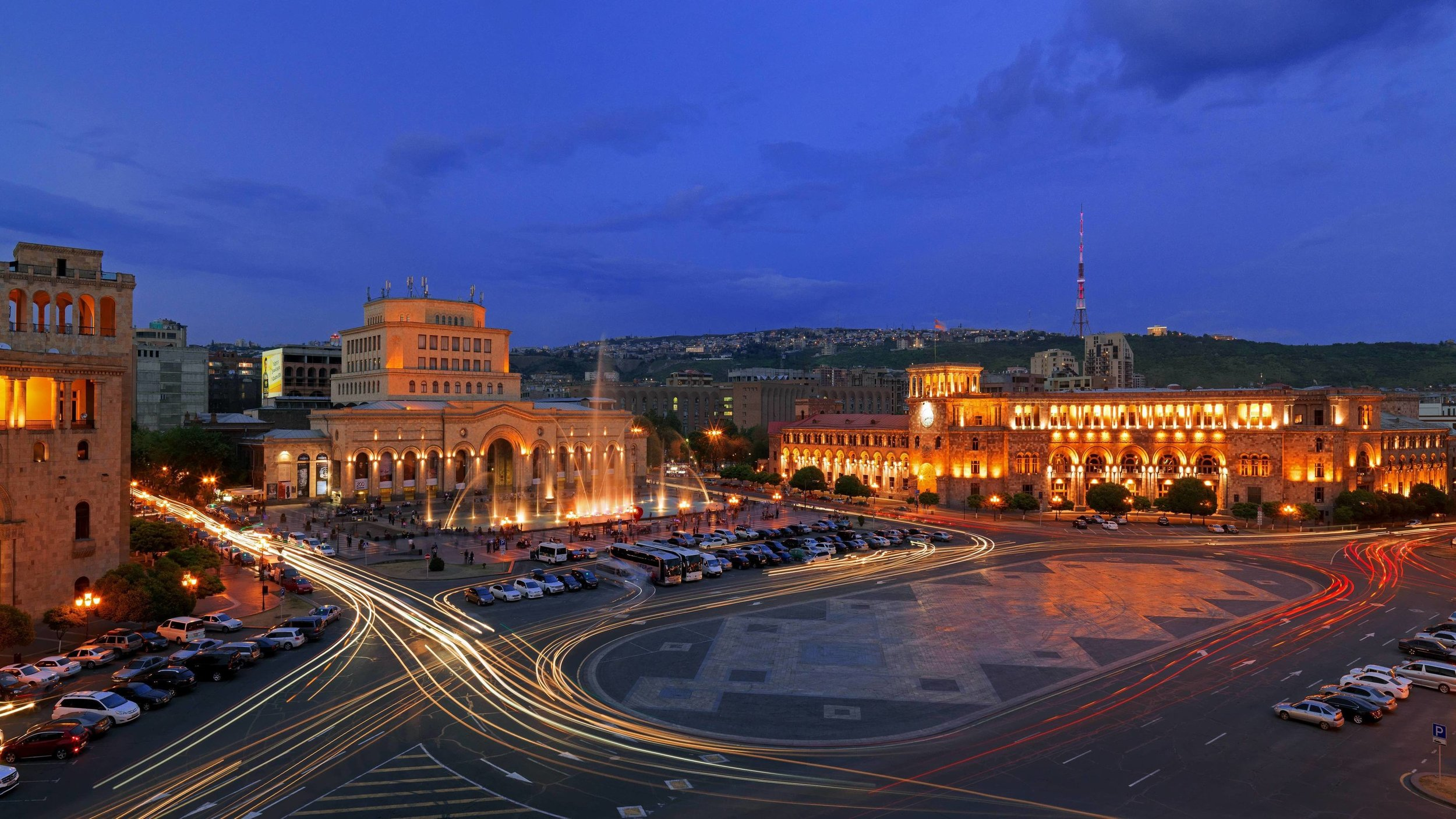The city of Yerevan comes alive at night. View of the Republic Square.