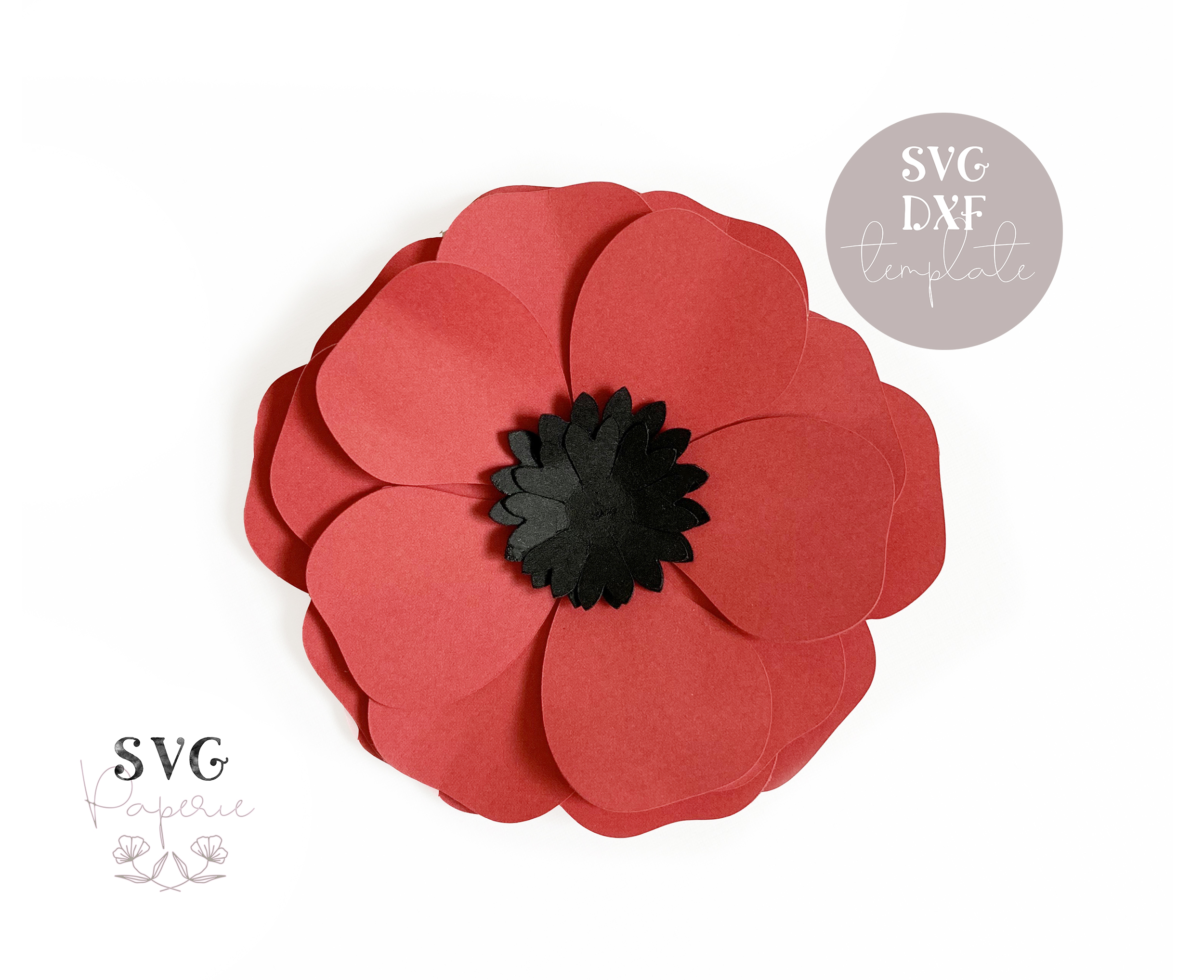 3D Paper Poppy Flower SVG Template, Cricut and DXF included — SVG BUNDLES  CO