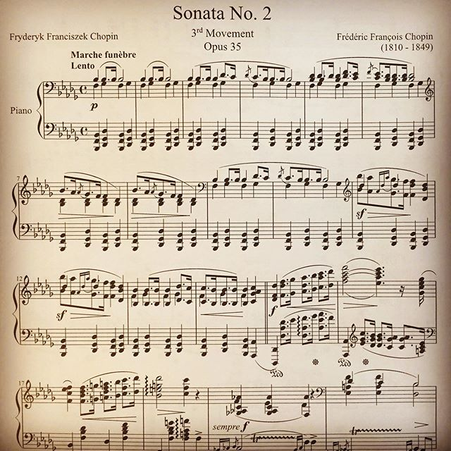 Next on the list of music to learn: Chopin, Funeral March. I love this piece, and I'd say it's the darkest piano piece I've ever heard. It still blows my mind that we're still studying and playing music from the 1800s, 1700s, etc. . . . #pianist #piano #pianomusic #guitar #violin #classicalpiano #musician #funeralmarch #vivaldi #sonata #portland #classicalmusic #fredericchopin #chopin #losangeles #concert #langlang #mozart #beethoven #classical #liszt #poland #jazz #composer #concert #soundtrack #opera #opus #bach #haydn