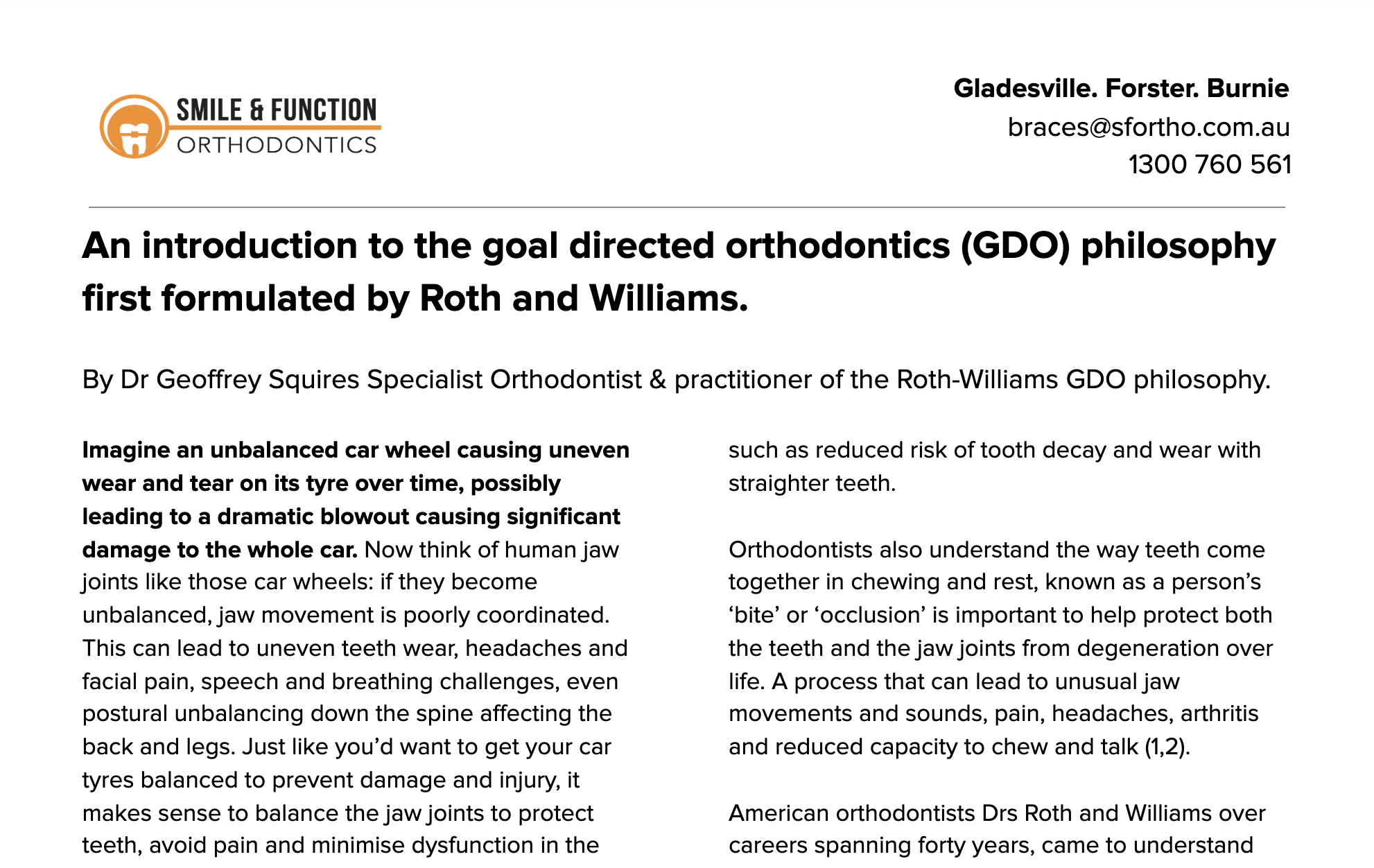 GDO for patients - By Dr Geoffrey Squires Specialist Orthodontist