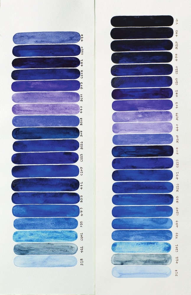 Personal Selection of 19 Blues Seen While Sailing Into a Cove, 2013, by Julian Imrie