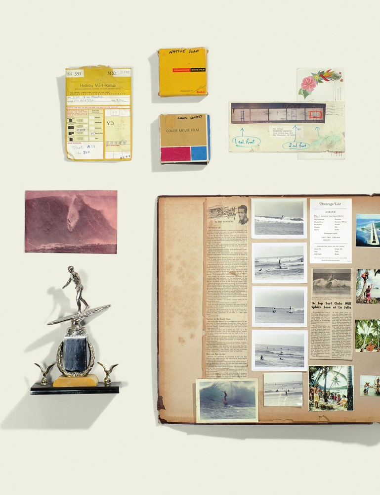 clockwise from top: early '60s film, processing order and contact sheet (in the '50s and '60s, Hawaiian labs processed thousands of miles of Super 8 film a year, mostly for tourists); a page from the Windansea Surf Club's scrapbook documenting a club trip to Tahiti, 1964; a trophy from an early '60s surfing contest; better than a roller coaster.