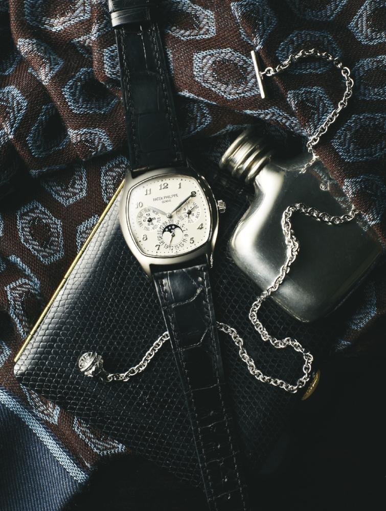 PATEK PHILIPPE 5940G  wool and silk ascot SIMONNOT-GODARD  sterling silver longevity lapel chain PATINOVA