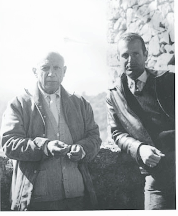 with Pablo Picasso in the South of France, late 1950s.