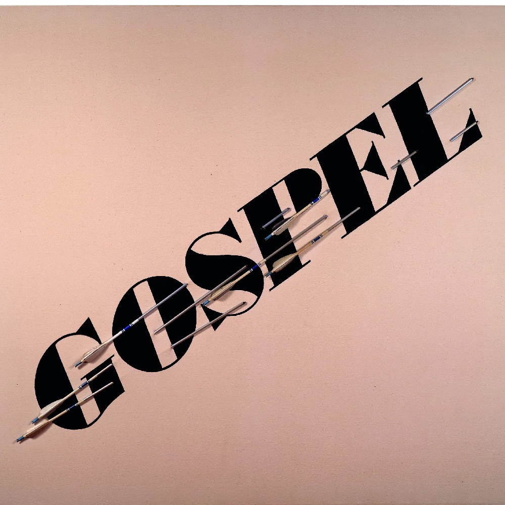 GOSPEL, 1972, synthetic polymer and aluminum on raw canvas, 54 x 60 inches 88 Courtesy of Gagosian Gallery. © Ed Ruscha   NINE SWIMMING POOLS, 1968¬1997, color coupler prints, each 16 x 16 inches 89 Courtesy of Gagosian Gallery. © Ed Ruscha