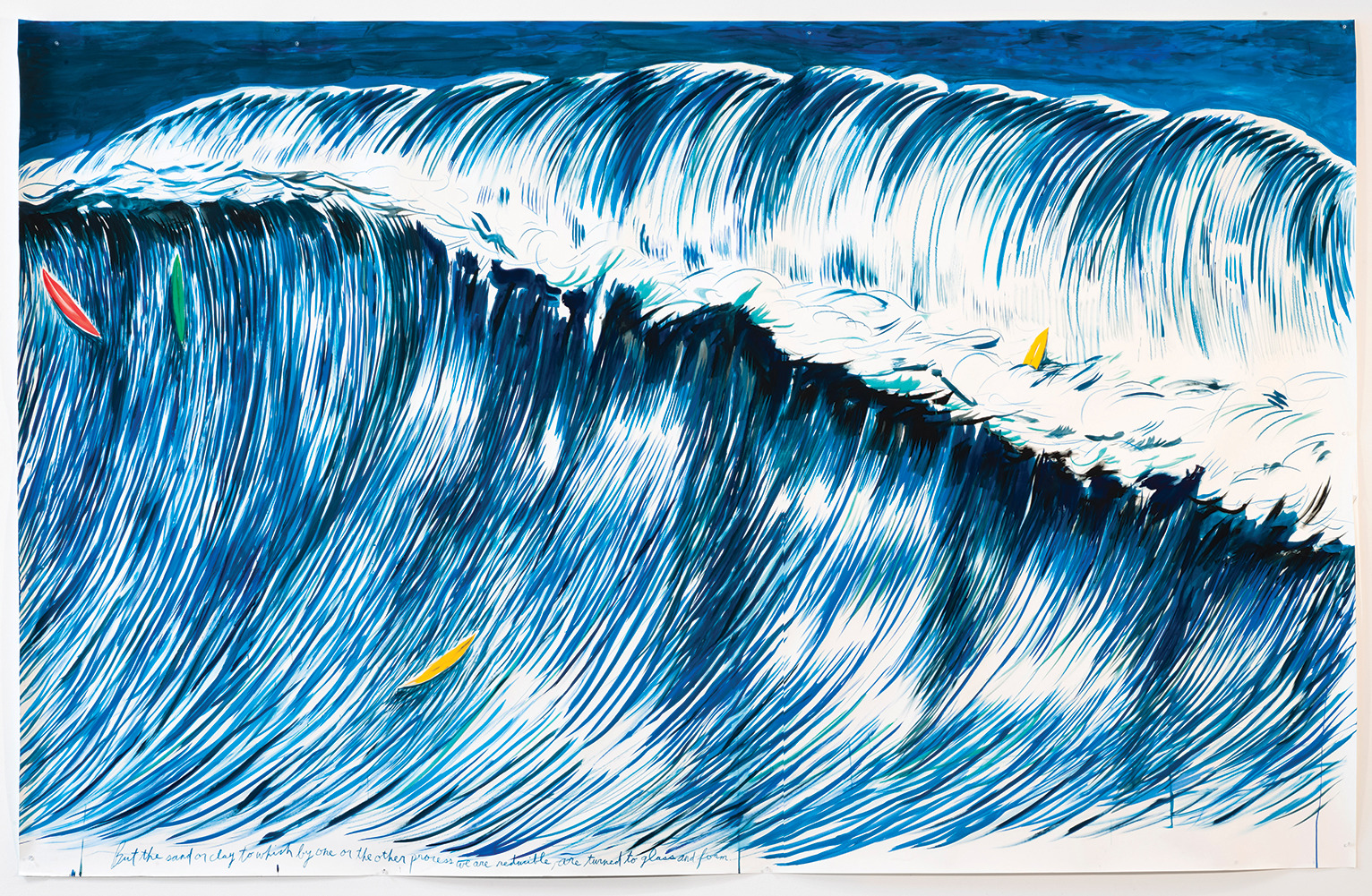 Raymond Pettibon No title (But the sand…), 2011 Acrylic, ink, and pastel on paper. 80 x 126.5 inches Courtesy of the artist and David Zwirner Galleries.