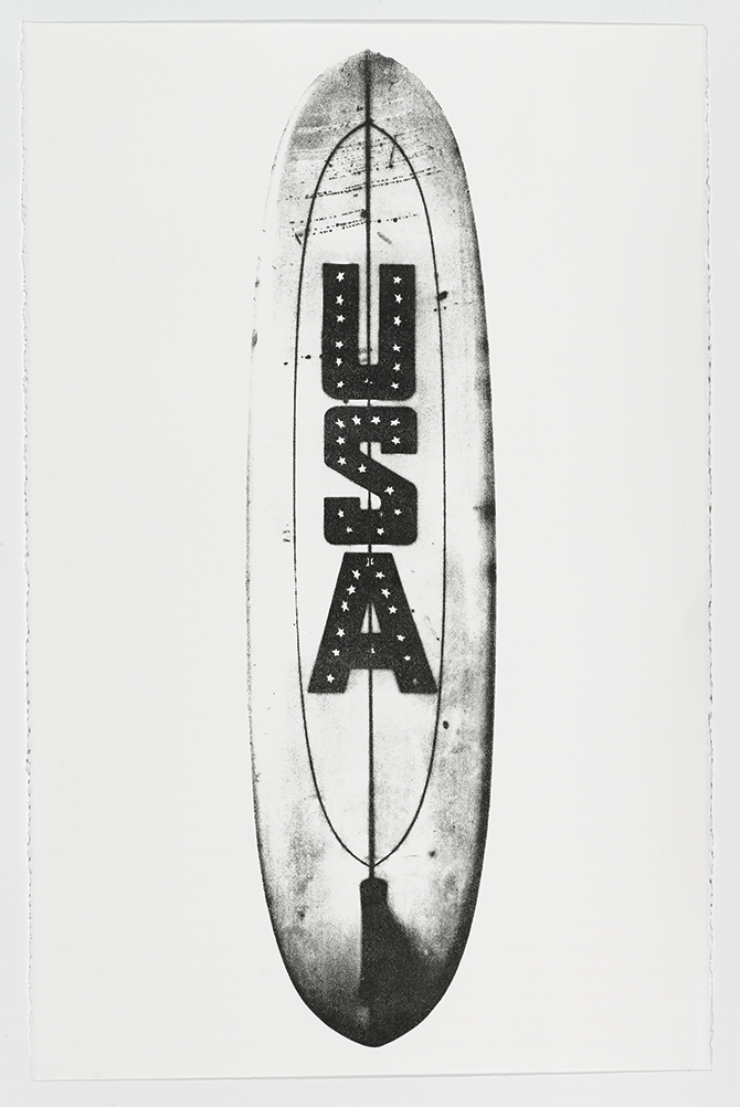 Randall Mesdon USA Surfboard, 2010 Work on paper 42 x 82 inches.
