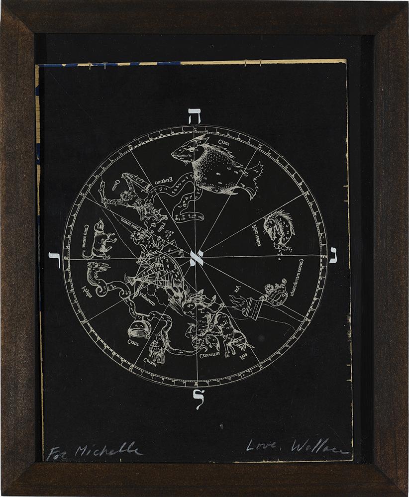Wallace Berman Untitled (Round astrologicalmap), 1973 Black verifax collage