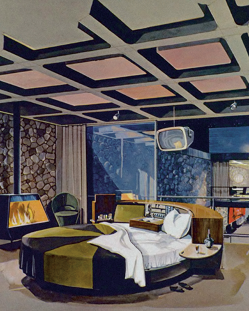The master bedroom of the Playboy Penthouse Apartment designed by Chrysalis architects, 1956. Courtesy of Playboy