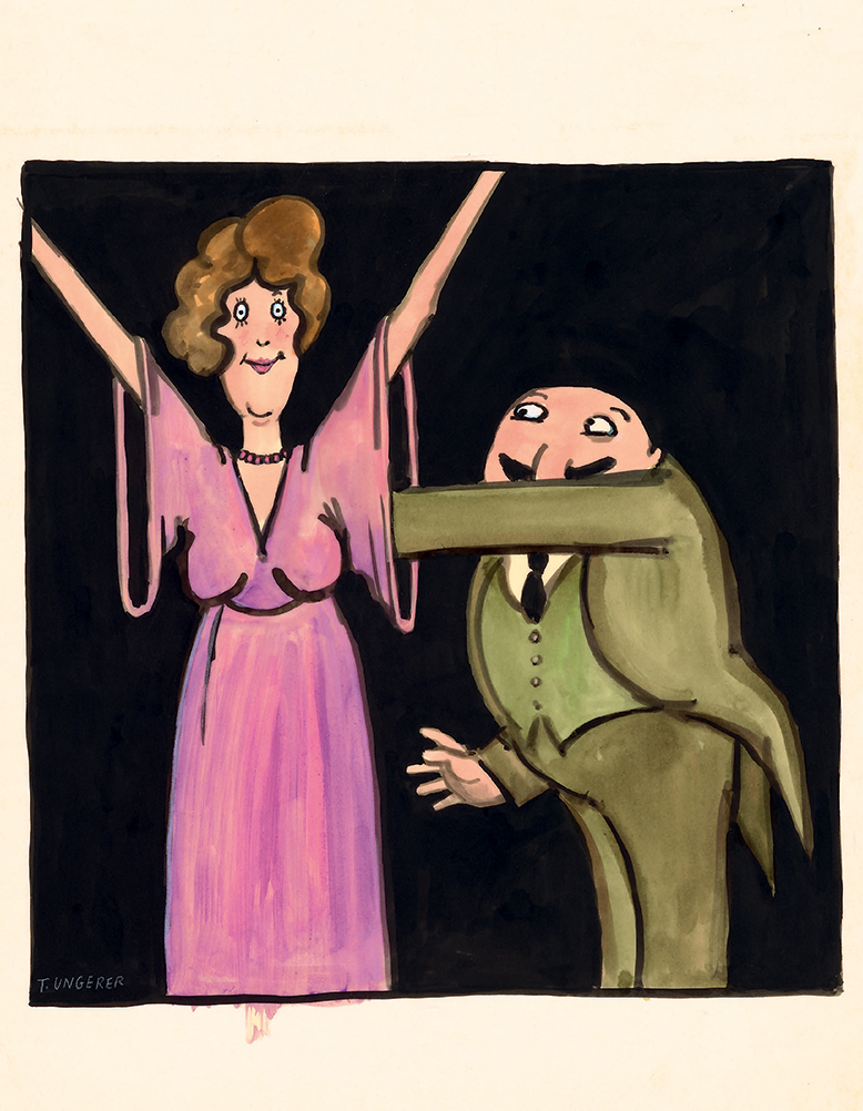 """UNTITLED 1968, from the Village Voice poster series """"Expect the Unexpected,"""" India ink, gouache, and watercolor on tracing paper, 18.75 x 13.9 inches Courtesy of the Tomi Ungerer Collection, Ireland"""