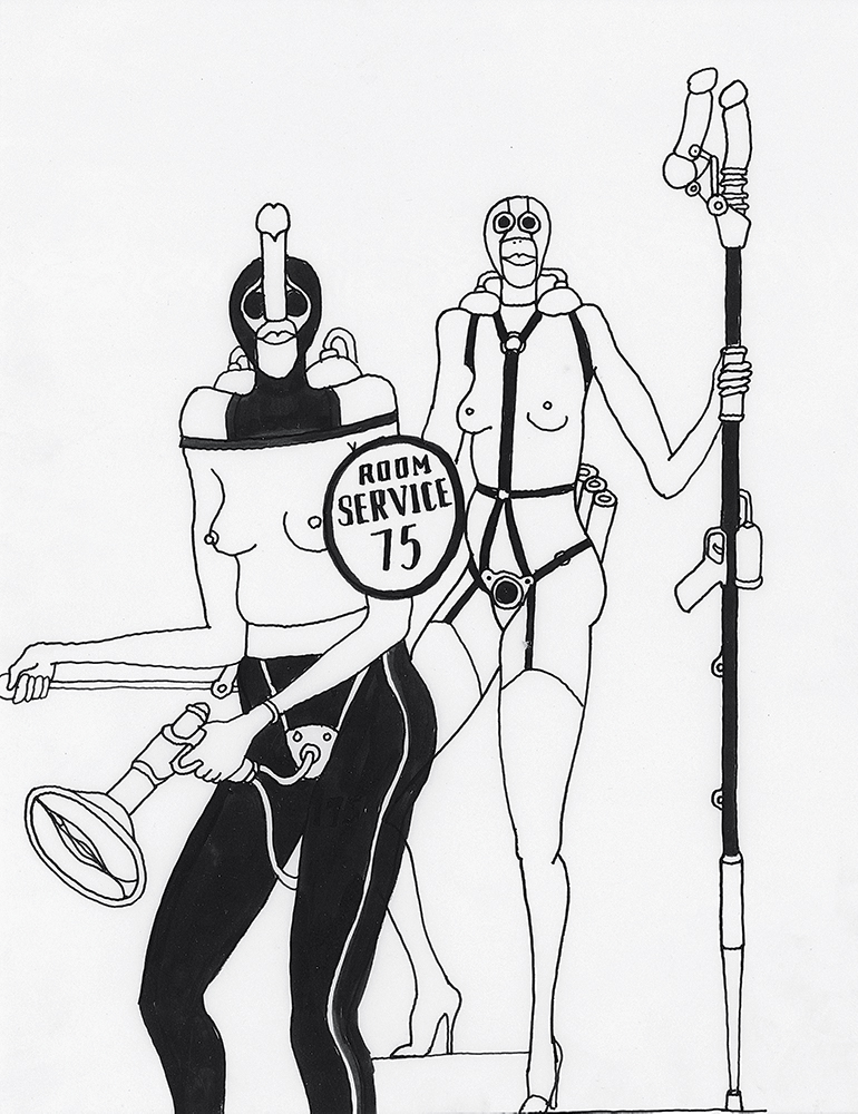 UNTITLED 1969, from Fornicon, India ink on tracing paper, 14 x 11 inches Courtesy of the Tomi Ungerer Collection, Ireland © Tomi Ungerer/Diogenes Verlag AG, Zürich
