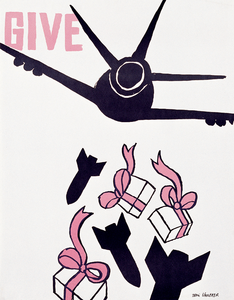 GIVE 1967, from a rejected series of posters commissioned by Columbia University, India ink on paper, 26.7 x 20.8 inches