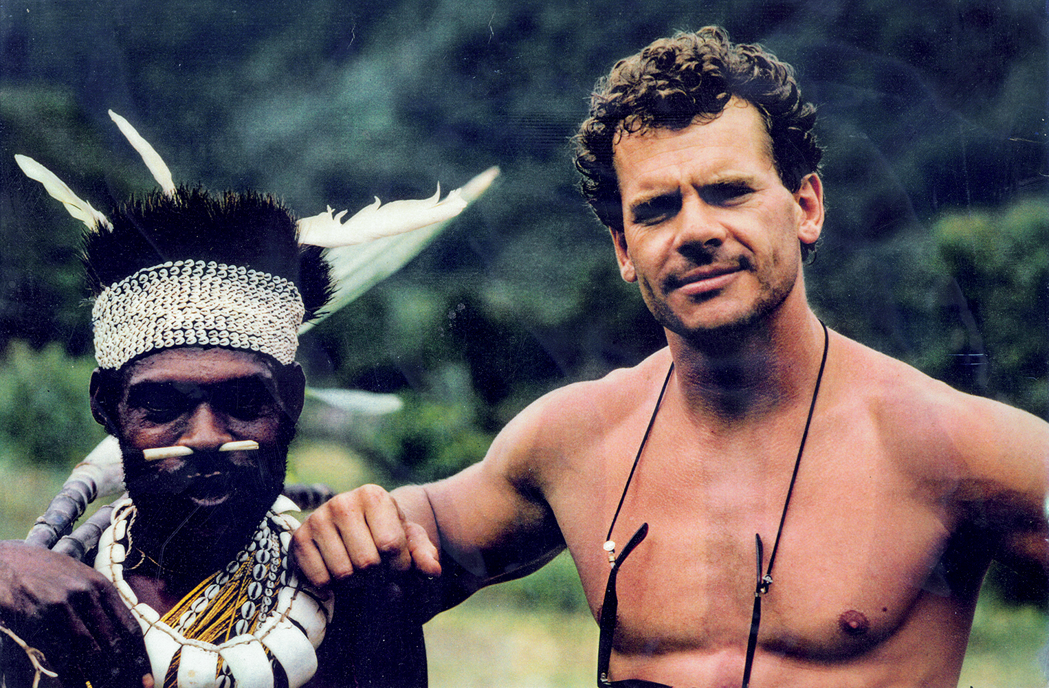 With Papuan guide during the discovery and exploration of the world's largest river cave, Gulf Province, Papua New Guinea.