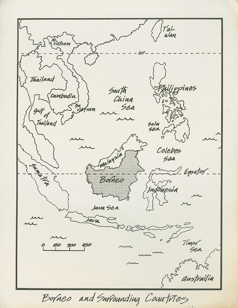 Artist rendition of the route, Great Borneo Traverse.