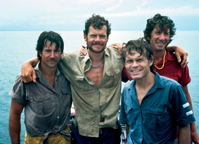 Jim Slade, John Long, Rick Ridgeway, and Jim Bridwell. East coast of Borneo.