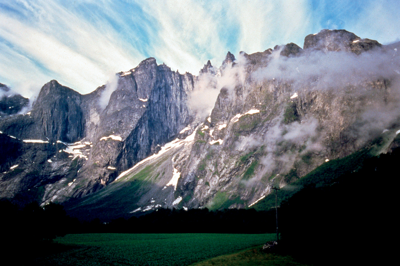 Upper left. 4,200 foot high Trollveggen Wall, Norway.