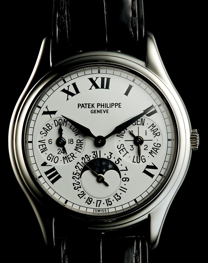 Patek Philippe 3940 perpetual calendar in platinum, 1992, available through Man of the World