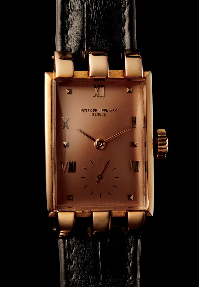 Patek Philippe 1482 three knuckle fancy lugs in rose gold, 1940, available through Man of the World