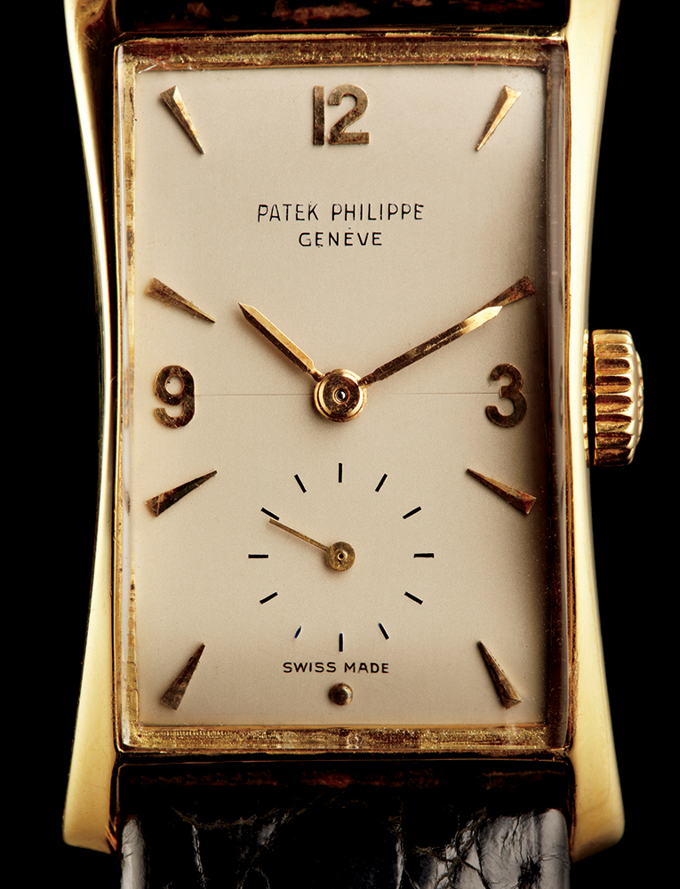 """Patek Philippe 1593 """"Hourglass"""" in yellow gold, 1967, available through Man of the World"""