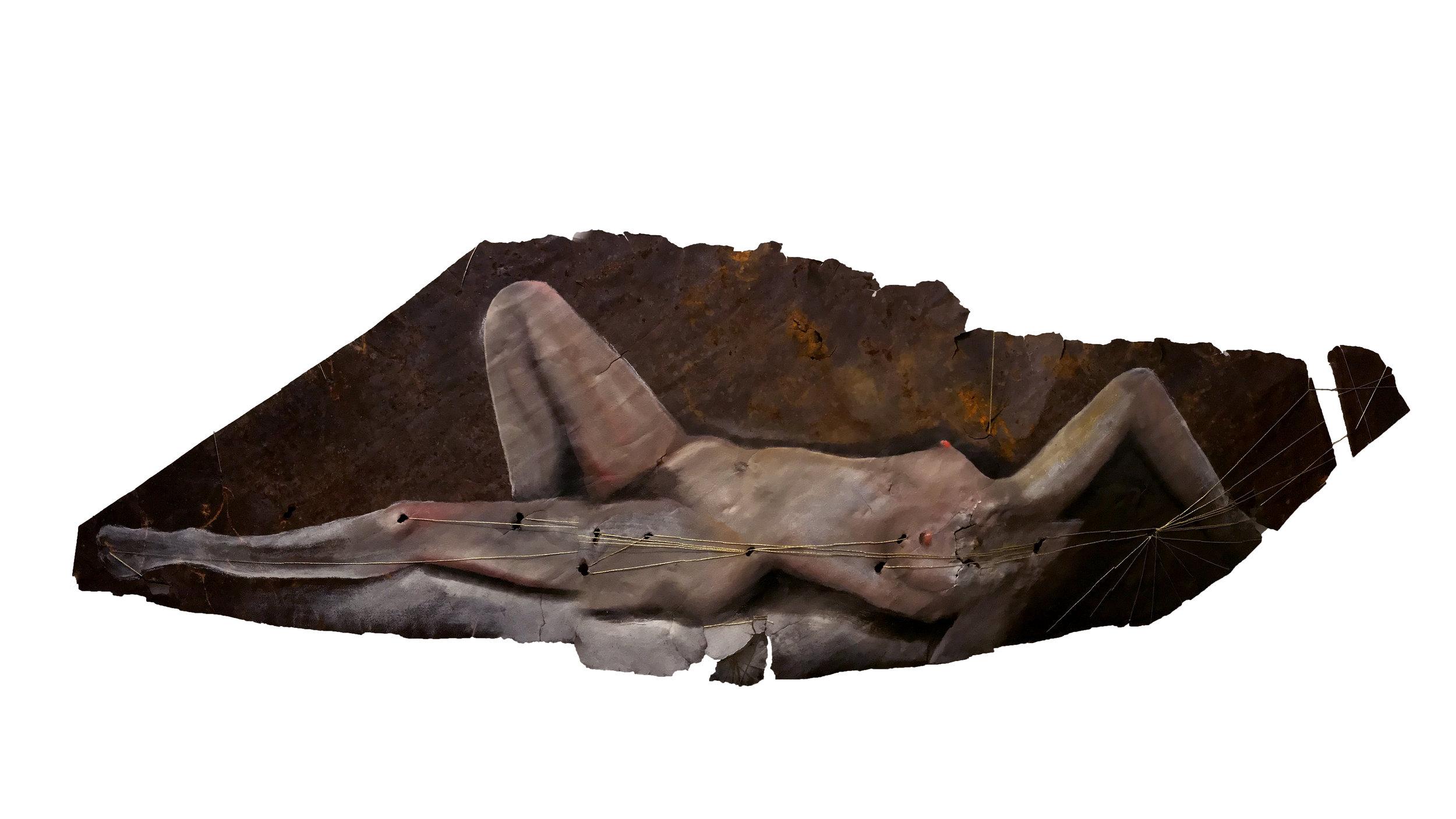 Venus of Denver - oil on rusted metal, gold thread.1.5 x 4.5 feet