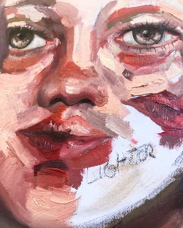 Paint details of my newest piece. I really enjoy leaving exposed canvas in paintings and intentional brushstrokes. It's been a great challenge restraining myself with my desire to overwork everything.