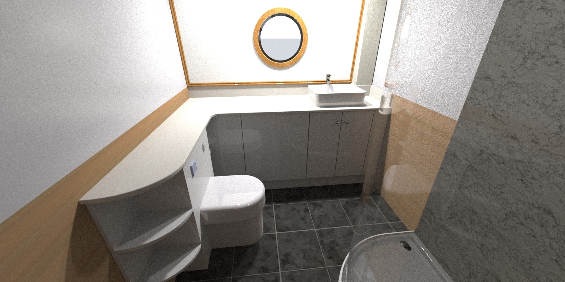 Pump out toilet, larger shower, and stone=effect worktops