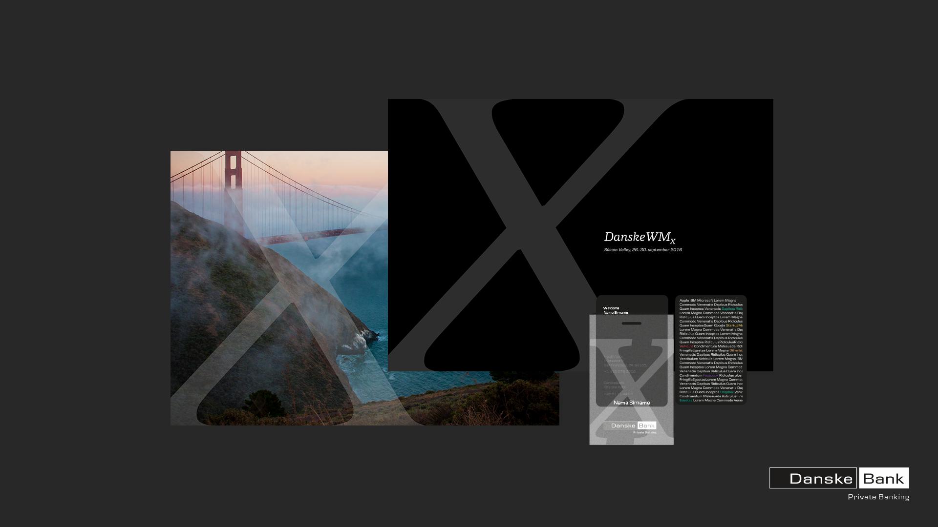 Design system Danske Bank Wealth Management X. Invitations, programs, keycards and booklets.