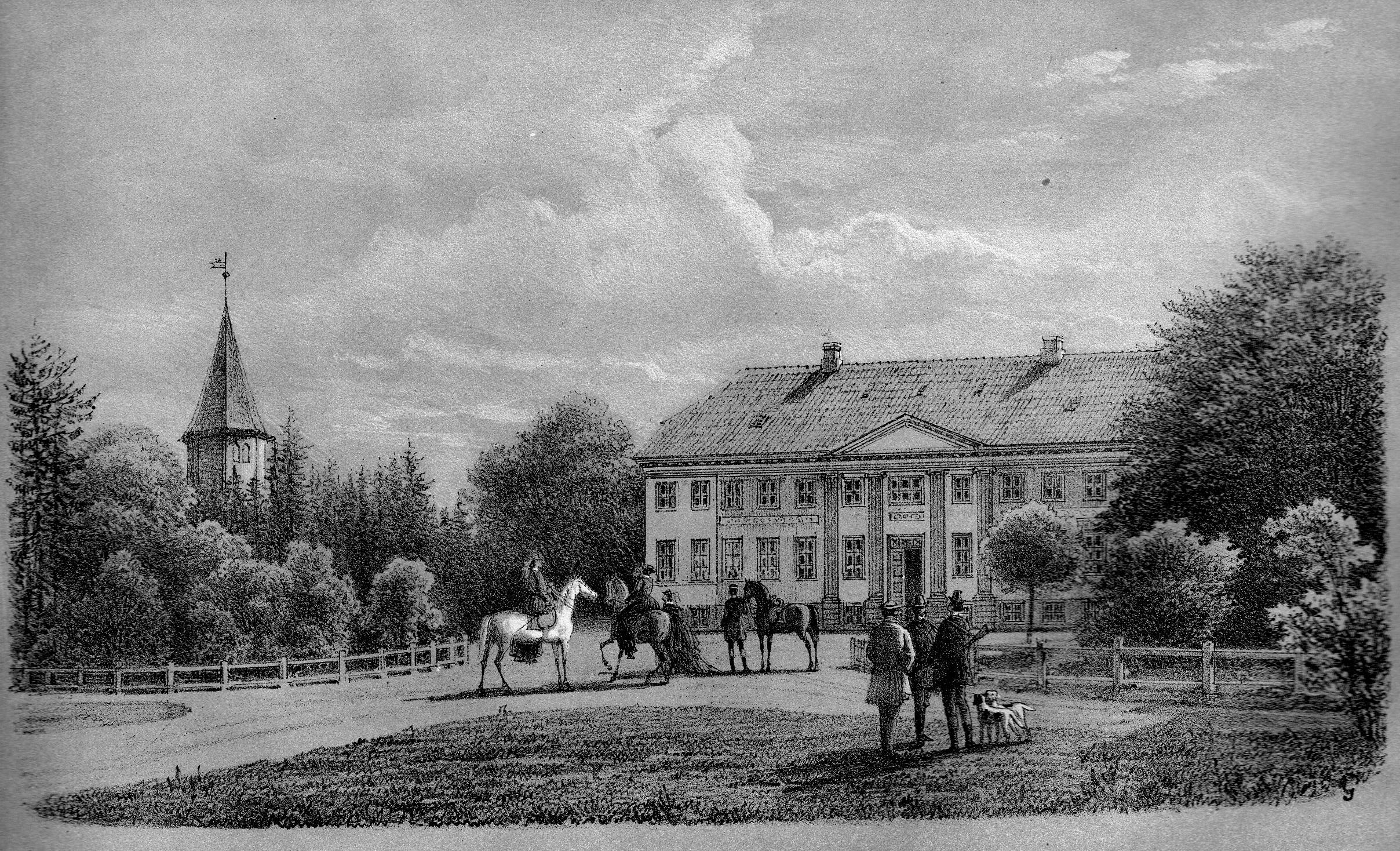 Engestofte tegnet af Ferdinand Richardt i 1867